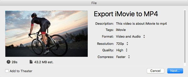 Afficher les informations iMovie