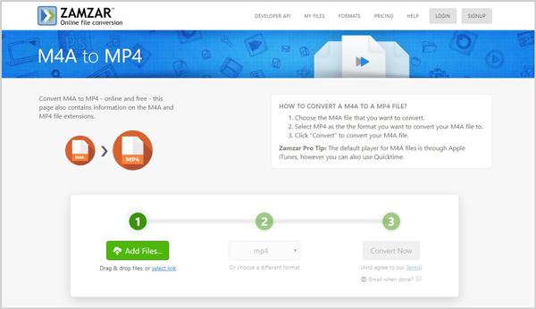 Convierta gratis M4A a MP4 en línea