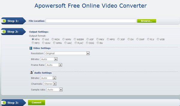 Apowersoft Gratis online video-omzetter