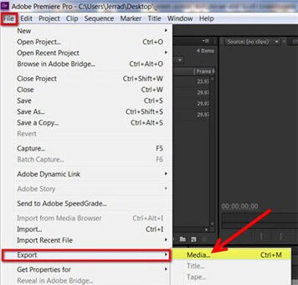 Export videa na rozdělené obrazovce Premiere Pro
