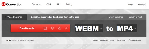 WebM to MP4 with Convertio