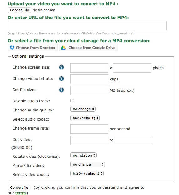 WebM to MP4 with Online-convert