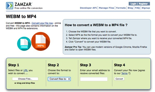 WebM to MP4 с Zamzar