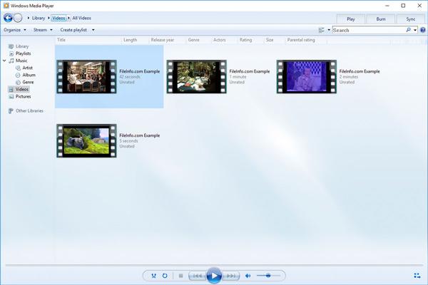 Windows Media Player Přehrávání videa