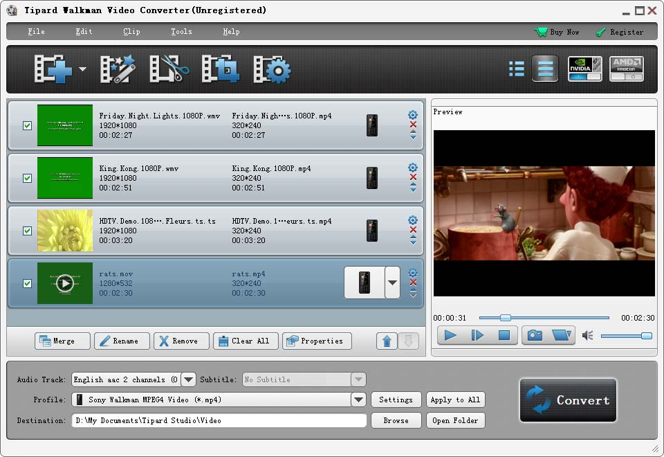 Tipard Walkman Video Converter Screenshot