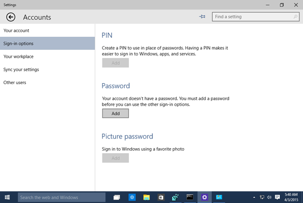 Change Password Settings