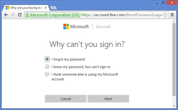 Glömt lösenord