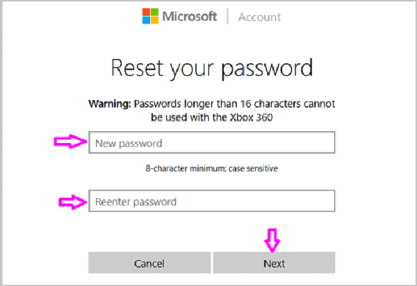 Microsoft-tilin nollaus