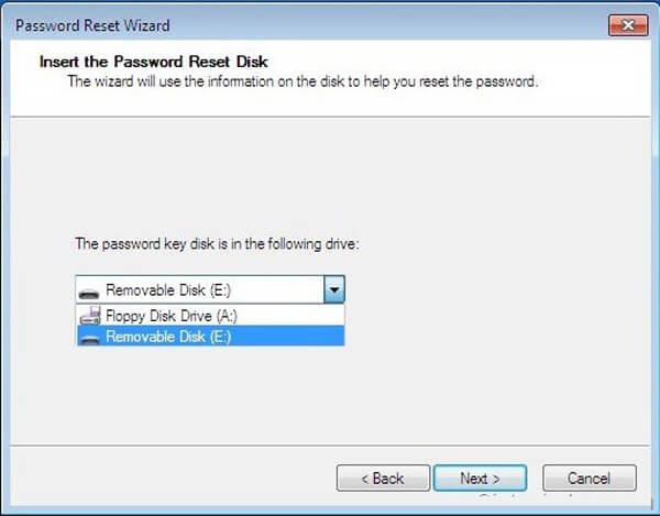 Disk pro resetování hesla
