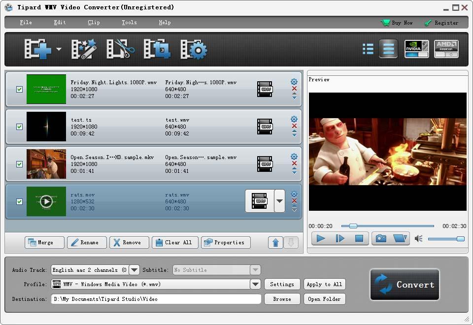 Click to view Tipard WMV Video Converter screenshots