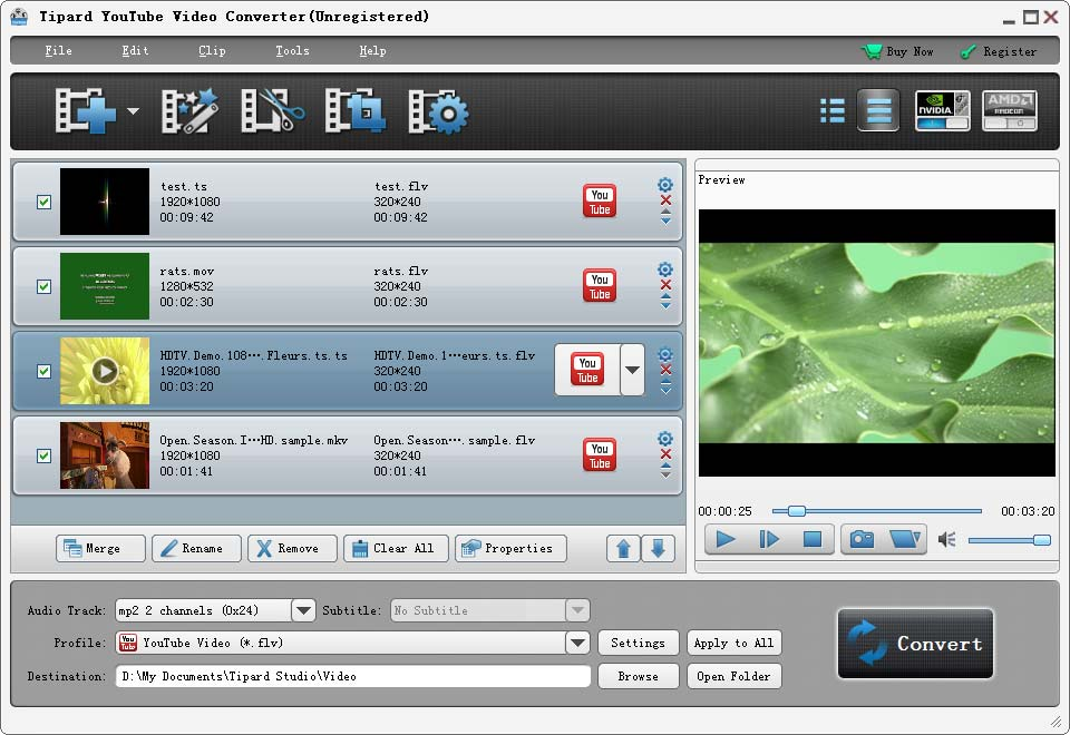 Tipard Youtube Video Converter Screen shot